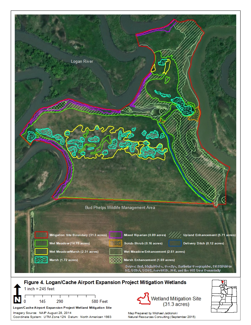 map of wetland mitigation site